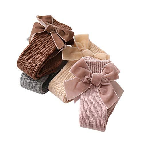 Kniestrümpfe für Neugeborene, für Jungen und Mädchen, mit Schleife, aus fester Baumwolle, 0–3 Jahre Gr. 0-12 Monate, 4 Farben