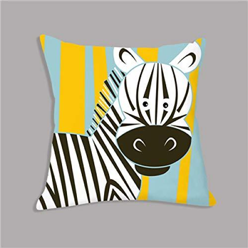 Kussen LKU Cartoon giraf leeuw olifant dierenprint wit pluche zitkussen sierkussen, 45x45cm Just Cover