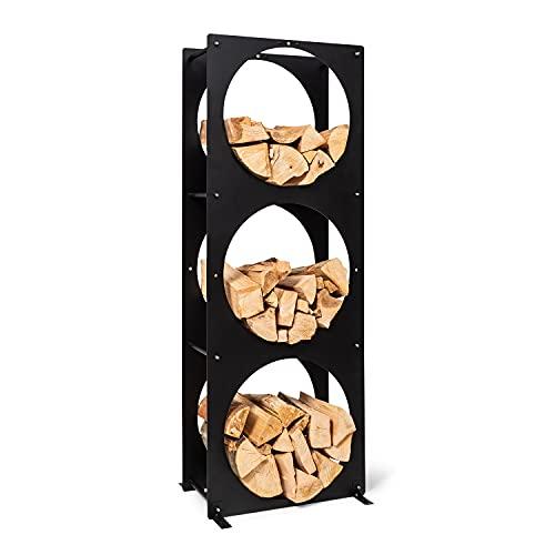 blumfeldt Trio Circulo - Depósito de leña, Estante de acero de 3 mm de grosor, Resiste a la intemperie, Para interior y exterior, Con 3 cajones, Dimensiones 55 x 160 x 30 cm, Negro