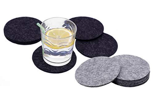 Spetebo 12x Filz Untersetzer rund in grau und schwarz - Glasuntersetzer Getränkeuntersetzer Tassenuntersetzer