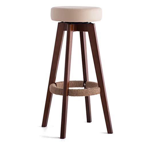 WWW-DENG barkruk, rond, hout, hoge kruk, barstoel, voor keuken, huis en bedrijf, creatief, eenvoudige stijl, bruin/beige