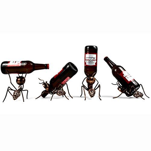 Kayla-lan Estante de Vino de Hormiga Soporte de exhibición Creativo Europeo Soporte de Vino de Hierro Forjado para la decoración del gabinete del hogar Bar Bodega (Brown, 4Pcs)