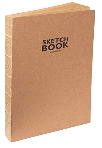 Sketchbook Kraft-Cuaderno de bocetos con encuadernación de hilo abierto, DIN A5, 120 hojas, 100 g/m², papel de estraza resistente y reciclable de fibras naturales sin blanquear, naturaleza