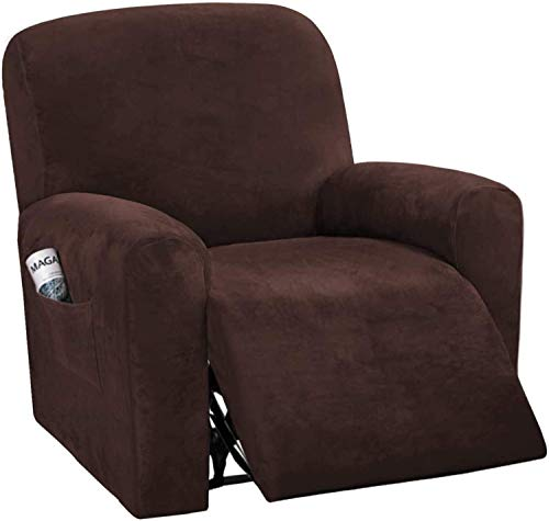 Pillowcase Fundas de sofá reclinables de 4 Piezas Fundas de sofá reclinables elásticas de Terciopelo para 1 cojín Fundas de sofá Fundas Suaves Lavables para Muebles con Fondo elástico (marrón)