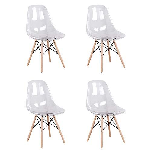 Juego de 4 sillas de comedor transparentes de acrílico con patas de madera de haya para cocina, sal