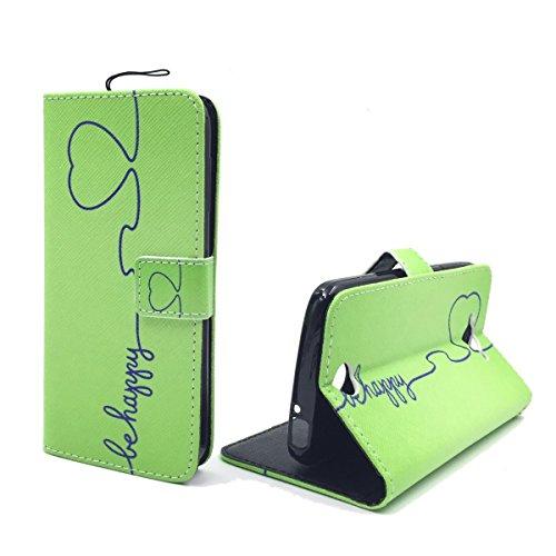 König Design Handyhülle Kompatibel mit ZTE Blade L3 Handytasche Schutzhülle Tasche Flip Hülle mit Kreditkartenfächern - Be Happy Design Grün