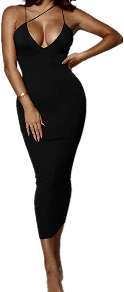 Women's Sexy Asymmetrical Diagonal Spaghetti Strap V Neck Bodycon Club Party Night Midi Long Dresses