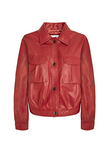 Pepe Jeans Chaquetón de piel de lena. rojo S