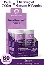 Amazing Grass Effervescent Tablets, Green Superfood Energy Water Flavoring Tablet, Antioxidant Supplement with Green Tea Caffeine and Alkalizing Greens, Grape Flavor, 60 Count