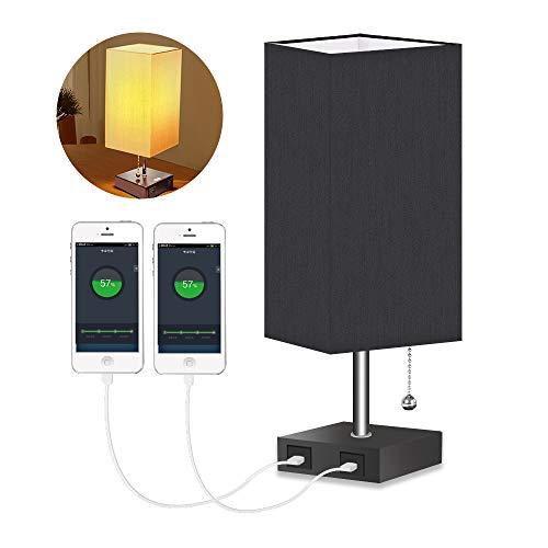 HENZIN Lámpara de noche LED vintage con pantalla de tela, lámpara de mesa de tela, lámpara de escritorio, lámpara de noche con 2 puertos USB, lámpara de mesita de noche para dormitorio, salón,Negro