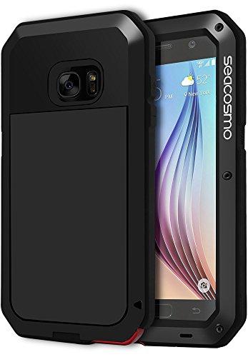 seacosmo Samsung Galaxy S6 Hülle, Aluminium Doppelte Schutz S6 Case Outdoor Handyhülle Stoßfest Ganzkörper Schutzhülle mit eingebauter Displayschutz für Galaxy S6, Schwarz