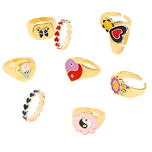 TBoxBo 8 anillos unisex de acero inoxidable de oro y plata de moda de titanio sonriente, anillo de cara sonriente, anillos de corazón de flores doradas, anillos indie para mujeres y niñas
