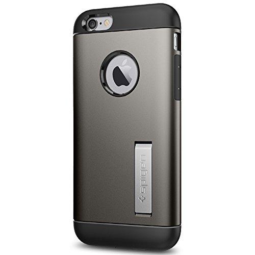 Spigen SGP11605 Slim Armor für iPhone 6S/6 Hülle, Doppelte Schutzschicht Schutzhülle mit Integrierten Kickstand Case Gunmetal