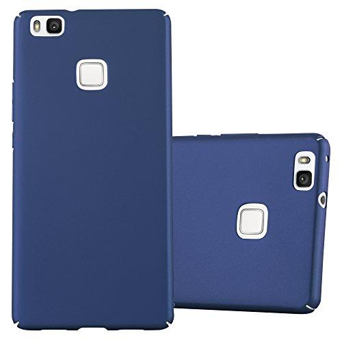 Cadorabo Hülle für Huawei P9 LITE - Hülle in Metall BLAU – Hardcase Handyhülle im Matt Metal Design - Schutzhülle Bumper Back Case Cover