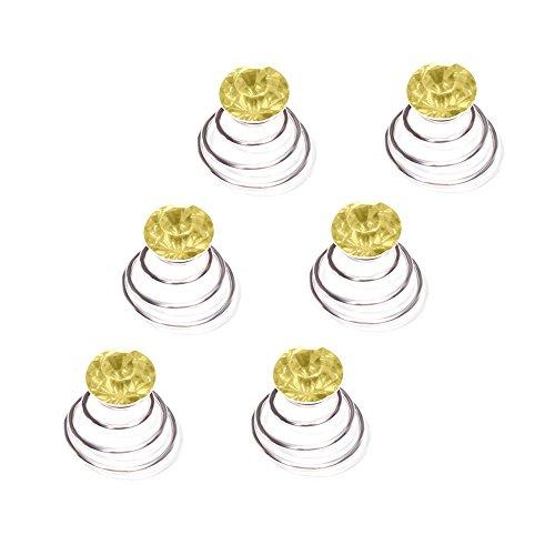 Autiga Haar Curlies Kristall Haarspiralen Haarcurlies Hochzeit Braut Haarschmuck versilbert Kommunion gelb 6er Set