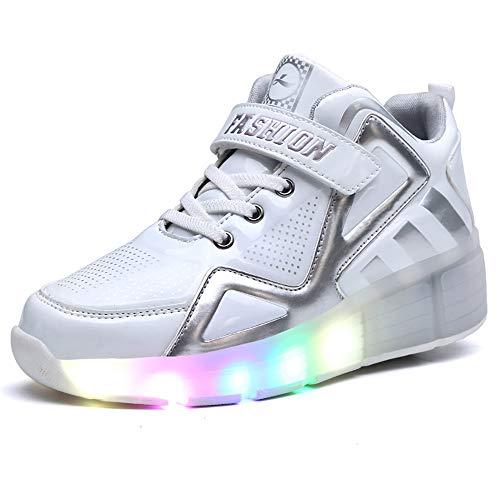 VerOut Rad Schuhe, Erwachsene Kinderschuhe Kinder Roller Schuhe mit LED-Breathable Art und Weise Boys & Girls heelies Turnschuhe Sport-beiläufige für Kinder,Weiß,32