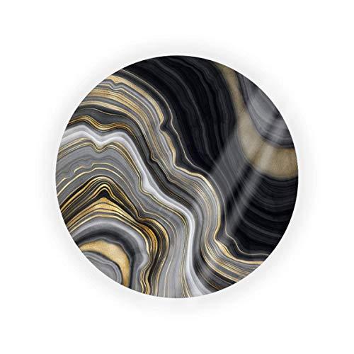 Caja de cojín de aire vacía con piedras preciosas de ágata, color negro y dorado