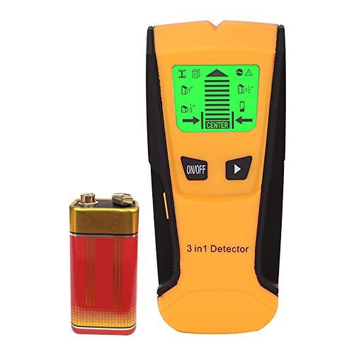Detector de Pared,KKmoon 5 en 1 Detector de Metal/Postes para Escáner de Pared con Bateria, Hallazgo Central, Madera y AC Cable,Retroiluminación LCD(Amarillo)