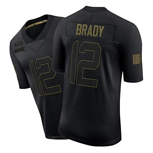 Brady Men Shirt # 12 American Football Trikots, Herren Rugby Jersey Student Training Wear Sports Kurzärmelig Indoor und Outdoor Black-L