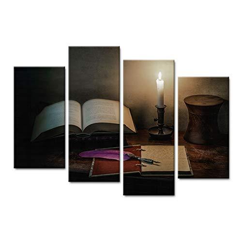 WLEZY canvas, modern, canvas, foto, wand, kunst, 4 stuks, noten veren, balpen, kaars nacht, lezen, woonkamer, HD, bedrukt, schilderen, decoratie, thuis