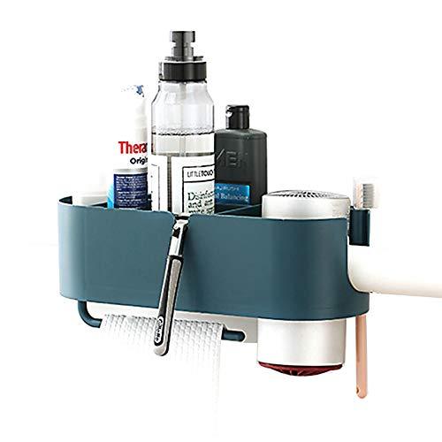 N/F Mokinga Soporte para Secador De Pelo, Caja De Almacenamiento para Secador De Pelo con Caja De Almacenamiento, Resistente Al Agua, Fuerte Adherencia (Color: Azul Oscuro)