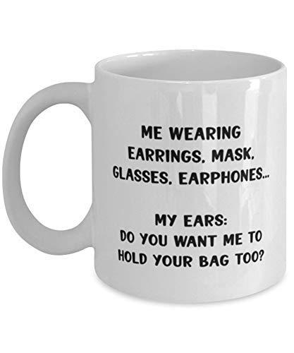N\A Divertida Taza de café de cuarentena 2020, Pendientes, máscara, Gafas, Auriculares, Sarcasmo, Año Nuevo para Hombres y Mujeres
