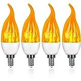 StillCool Bombilla de Llama 4 Pcs LED 3W E14, Efecto de Llama Intermitente LED, Bombilla de Llama Intermitente con 3 Modos, Utilizada para Navidad, Familia, Hotel, Bar, Decoración Navideña