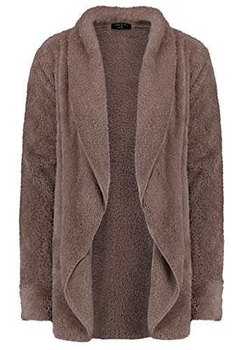 Sublevel Lockerer Damen Fleece Cardigan aus Teddy-Fleece Light-Brown M