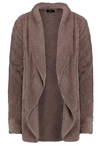 Sublevel Lockerer Damen Fleece Cardigan aus Teddy-Fleece Light-Brown M
