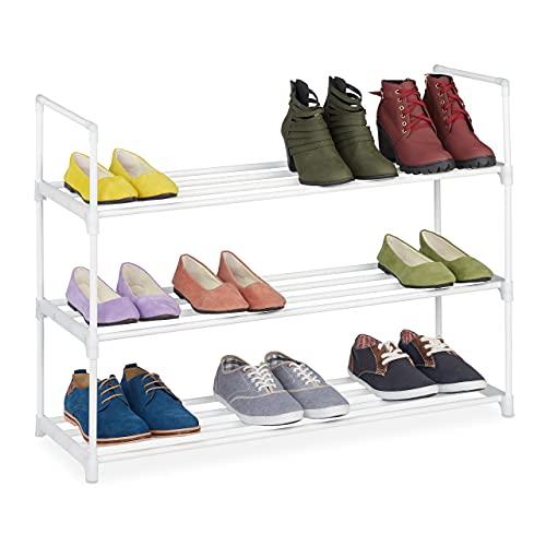 Relaxdays Niveles, Sistema de Enganche, 12 Pares de Zapatos, Ampliable, Metal y plástico, Zapatero, Color Blanco, 3 Ebenen