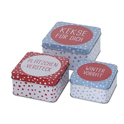 3er Set Metall Keksdose Plätzchendose eckig hellblau rot weiß Kekse für Dich, Plätzchenversteck, Winter Vorrat sortiert 9-12cm