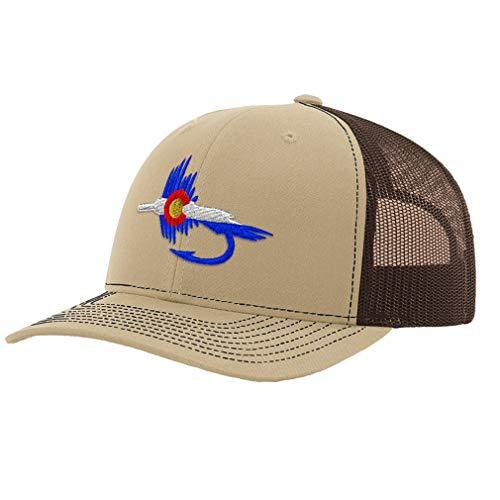 Custom Richardson Trucker Hat Colorado Flag Fishing Fly Embroidery Polyester Mesh Baseball Cap Snaps Khaki/Coffee Design Only