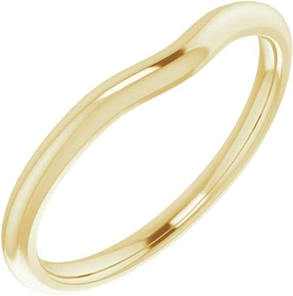 Solid 14K Yellow Gold Curved Notched Wedding Band for 8mm Round Ring Guard Enhancer - Size 7