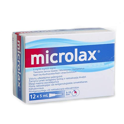 Microlax Enema 12 x 5ml - Fast Treatment of Constipation Or Conditions Requiring Relief of Emptying