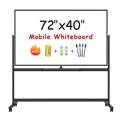 VIZ-PRO Magnetic Mobile Whiteboard, 72 x 40 Inches, Height Adjustable Double Sided Rolling Dry Erase Stand White Board on Wheels