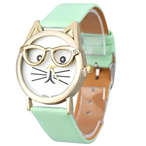 Xinantime Relojes Pulsera Mujer,Xinan Lindo Vidrios Gato Análogo Cuarzo Dial (Azul)