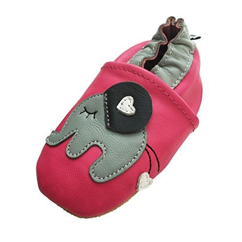 ENGEL + PIRATEN Krabbelschuhe MARKENQUALITÄT AUS Deutschland Babyschuhe Leder Lauflernschuhe Lederpuschen VIELE Modelle (6-12 Monate(Gr.18/19), Elefant Pink)