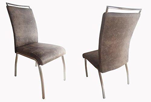 ARBD eetkamer-/schommelstoel Orlando - set van 2 - verschillende Varianten en kleuren. Vintage grijze stof - viervoetig