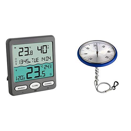 TFA Dostmann TFA Venice 30.3056.10, Kunststoff, Grau & Analoges Schwimmbadthermometer, geeignet für Schwimmbad und Teich, rostfrei, bequemes Ablesen, blau