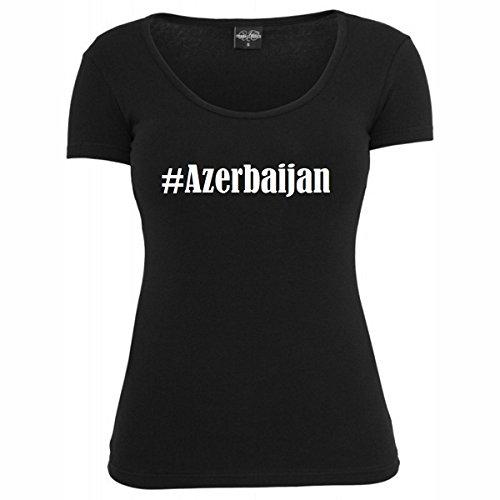 Damen T-Shirt #Azerbaijan Größe S Farbe Schwarz Druck Weiss
