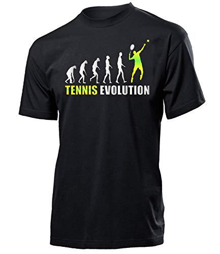 Tennis Evolution 576 Sport Fan Fanartikel Fanshirt Männer Turniershirt Sportbekleidung Geschenk für Herren t Shirt Tshirt t-Shirt Tennistrainer Tennisbälle Handtrainer Kurzarmshirt