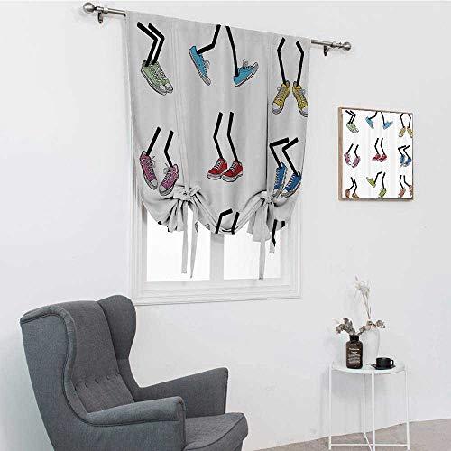 GugeABC Cortinas de dibujos animados para sala de estar, estilo cómic, pies para caminar, zapatos deportivos, calzado de moda, gráfico opaco, multicolor, 76,2 x 162,6 cm
