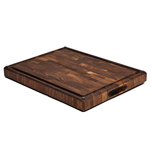 Made in USA, Large End Grain Walnut Wood Cutting Board with Built-in Compartments, Non-slip:...