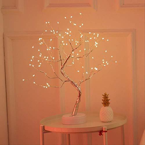 Lámpara LED de árbol perlado con forma de estrella, para regalo, decoración navideña, luz blanca cálida, 108 luces de cobre, batería + USB