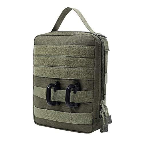 LIOOBO Camping Kitchen Organizer Travel Set Portable BBQ Camping Cookware Utensils Travel Kit Army Green