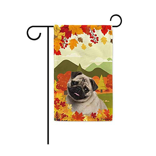 BAGEYOU Hello Fall in The Countryside with My Love Dog Pug Decorative Garden Flag Autumn Maple Leaf Banner for Outside 12.5X18 Inch Printed Double Sided