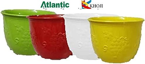 KHOJI (Multicolor Set of 4) 8 inch Daffodil Flower Pot, Self Watering Planter, Plastic Plant Flower Seedlings Nursery Pot/Pots Colorful Flower Plant Container Seed Pots, Plants Pots.