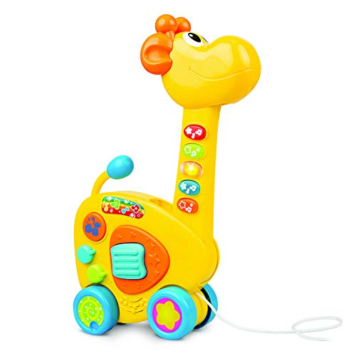 Bambiya 2-in-1 Pull Giraffe Toy and Toddler Guitar – Kids Guitars Toy for Toddlers and Preschoolers with Multiple Play Modes – Push and Pull Along Activity Toy 18+ Months – ASTM Certified