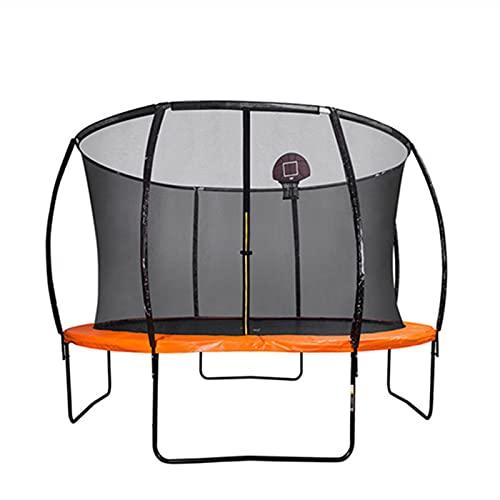 Goodvk Trampolín Trampolín de 10 pies con aro de Baloncesto y Escalera trampolín para niños. Fácil de Almacenar (Color : Orange, Size : One Size)
