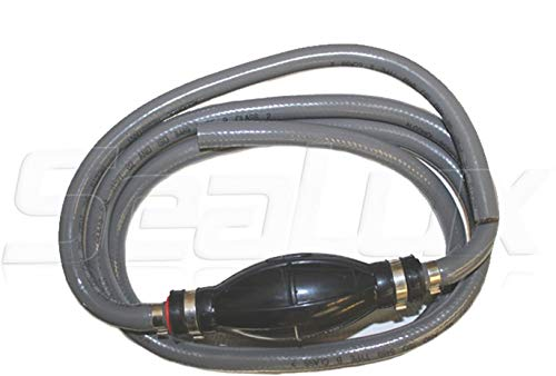 SeaLux Universal Outboard Fuel Line Assembly with Primer Bulb Fuel Line Hose kit 7 feet x 3/8' (Dia.), EPA Compliant for Boat, car